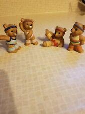 Miniature Ceramic Bears, Set of 4, From Homco, made in Sri Lanka.