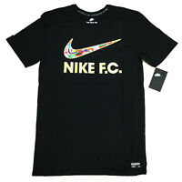 Nike 911400-010 Mens F.C. Swoosh Flag Soccer Tee Athletic Cut T Shirt