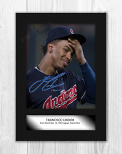 More details for francisco lindor cleveland indians a4 signed mounted poster. choice of frame.