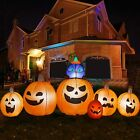 Inflatables Pumpkin with Witch's Cat Outdoor Halloween Decor, Build-in LEDs, 9FT