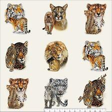 "15 Scenes E.Studio ""Big Cats"" #7602 Exotic Wild Large Cats Fabric Panel 23""X44"""