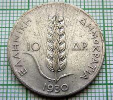 GREECE 1930 10 DRACHMAI, GRAIN SPRIG & GODDESS DEMETER, SILVER