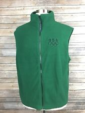 USA Team Olympics Mens XXL Green Full Zip Polyester Embroidered Vest