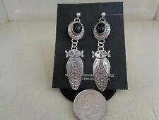 Super Corn Maiden Post Ear Rings With Black Onyx Stone .925 Sterling Silver