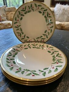 New /Tags SET OF 4 Lenox Christmas Holiday Holly Berry Dinner Plates 24kt Gold