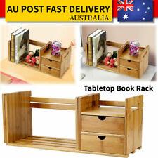 Office Desk Bookshelf Book Shelf Rack Stand Organizer Storage with 2 Drawer AU