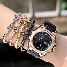 Men's Rhodium Plated Disco CZ Panther Leopard Macrame Beaded Bracelet Handmade