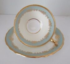 Vintage AYNSLEY FOOTED CUP & SAUCER SET~#8013~Rutland Nile Sage Green~Scalloped