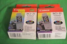 2 x Genuine Canon BCI-21C Colour Original Ink BCI 21 C Pair Twin Two