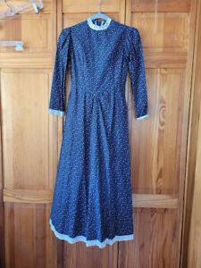 Vtg 70s CottageCore Renaissance Hippie Prairie Peasant Puff Slv Boho Dress XS