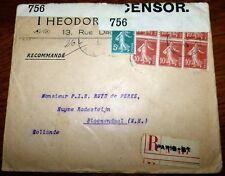 Zensur Reco 417 Brief Paris 51 1915 Frankreich France Bloemendaal (44