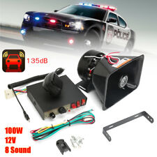 8 Sounds 12V Car Truck Alarm Police Fire Loud Speaker PA Siren Horn MIC System