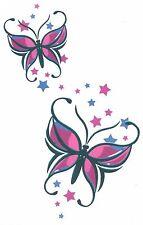 BUTTERFLY STARS SHEET TAT 4.50 X 7 BIG SIZE BRAND NEW DESIGN Temporary Tattoo