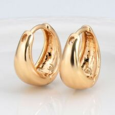 14mm Smooth Hoops Fashion Jewelry Women's Earrings 18k Yellow Gold Filled