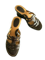 BOC  Born Concept Slip On Leather Wedge Sandals  Womens  Size 9/40.5 M Brown