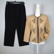 le suit  BLAZER sz 4P LINEN BL SUIT Jacket,pants EMBROIDERED BLACK TAN  W9