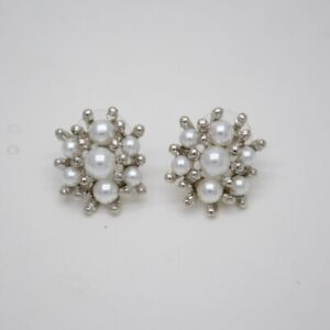 banana republic signed jewelry faux pearl cut crystals pierced post stud earring