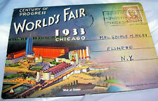 1933 Chicago World's Fair Century of Progress fancy hand cancel postcard booklet