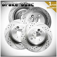 4pcs Front+Rear Left+Right Drilled Slotted Vented Disc Brake Rotors Fit Cooper