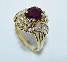 Ruby and Diamond Gold Ring 14k Yellow Gold