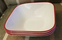 3 CORELLE VITRELLE SPLENDOR SQUARE WHITE SOUP/CEREAL BOWLS WITH RED/PIPING TRIM