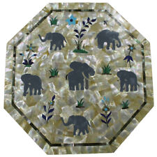 "15""x15"" Elephant Design Octagon Marble Inlay Table Top Home Decor"