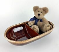 McCoy Divided Serving Vegetable Dish Bowl Pottery Brown Drip MCP USA 7038 Gift