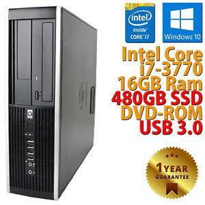 PC COMPUTER DESKTOP RICONDIZIONATO HP 8300 CORE i7-3770 RAM 16GB SSD 480GB WIN10