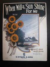 When Will The Sun Shine For Me Sheet Music Vintage 1923 Abner Silver Voice (O)