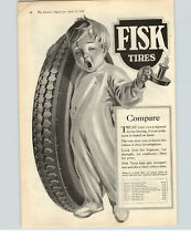 1922 Paper Ad Fisk Tires Sleepy Boy with Tire Image