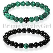 2pcs Green Black Bead Stone Mala Tibetan Handmade Stretch Couple Wrist Bracelet