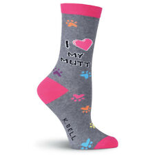 Luv My Mutt K Bell Trouser Crew Socks Gray New Women's Size 9-11 Dog Fashion