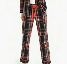 J CREW Stewart Black Tartan Plaid Cotton Pajama Pants NWOT Drawstring Large L