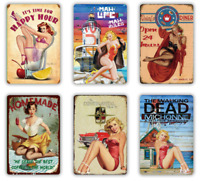 Vintage Sexy pin up girl metal plaque - Vintage/retro 40s 50s 60s tin sign bar