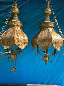 VINTAGE PAIR BRASS HANGING ELECTRIC LIGHT FIXTURE TULIP