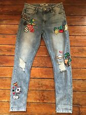 Topshop Moto Skinny Jeans Lucas Badged  Ripped Blue Sz 8 W26 L28 Petite Ul66