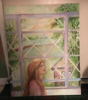 Kintz Acrylic Oil Painting Lady Looking Out Window  On Fredrix Canvas 30 X 23 3/