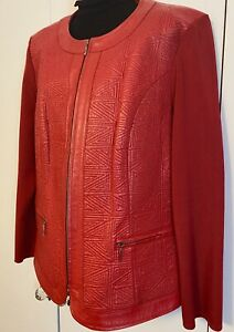 NYGARD  WOMENS RED LEATHER & KNIT JACKET  Size: 1X    New