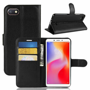 PU Leather Black Stand Wallet Phone Case Cover for Xiaomi Redmi 6A