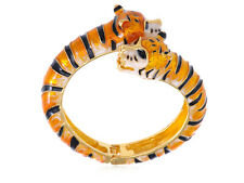 Golden Coherer Alloy Orange Cream Enamel Twin Tiger Cuff Bangle Bracelet USA