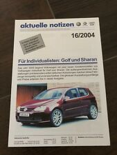 VW Golf V Individual 2004 Sharan Aktuelle Notizen Katalog Prospekt Brochure R32