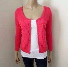 NWT Hollister Womens Size Small Cardigan Sweater Ruffles Pink Sweatshirt Top