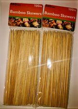 2 Packs 200pc 8'' Bamboo Skewers Wooden BBQ Sticks for Shish Grill Kabobs LOT