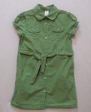 "Gymboree ""Burst of Spring"" SS Green Plaid Button Front Shirt Dress, 7"
