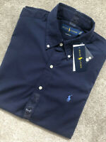 RALPH LAUREN NAVY COTTON CLASSIC S/S SHIRT TOP USA MODEL - MEDIUM - NEW & TAGS