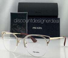 Prada Cateye Eyeglasses VPR 64U White Front Frame Gold Temples LFB-1O1 51mm NEW