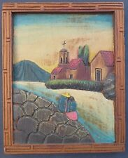 """Old vintage Mexican bas relief wood carving plaque 8"""" x 10"""""""