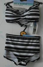 Boyshorts Bandeau Striped Swimwear Bikini Sets for Women