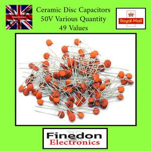 Ceramic Disc Capacitors 1pF - 100nF 50V 49 Values Quantity 10 / 20 / 50 / 100
