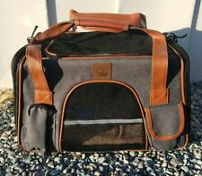 Purrpy Pet Carrier for Small Dogs Cats Ventilation Airline Approved Gray Zippers